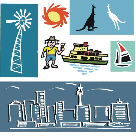 oz: Australian cartoon symbol selection Illustration