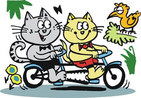 flowers cat: cartoon of cats riding on bicycle