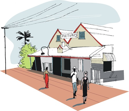 illustration of main street, Broome, Australia Vector