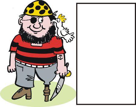 cartoon of happy pirate with sword Stock Vector - 10863980