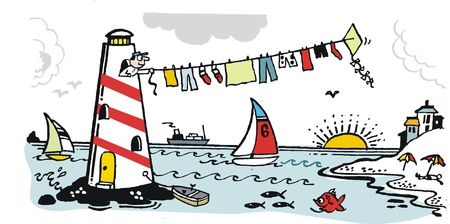 lighthouse keeper: cartoon of lighthouse keeper drying washing