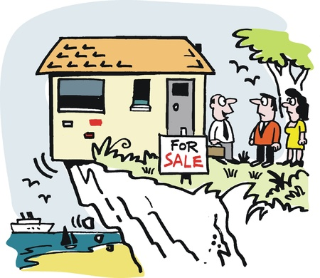 perilous: real estate cartoon of house on cliff