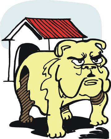 menacing: cartoon of fierce bulldog