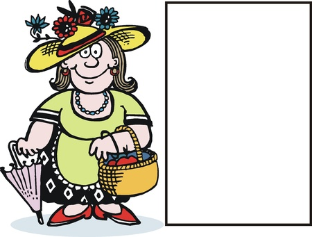 cartoon hat: cartoon of smiling woman with basket of fruit