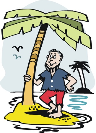 cartoon of man on deserted tropical island.