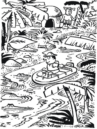 explore: cartoon of explorer in jungle river