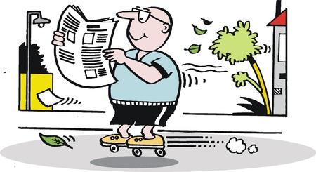 cartoon of man on roller skates reading paper Stock Vector - 10863978