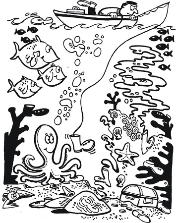 man underwater: line drawing of fisherman and octopus Illustration