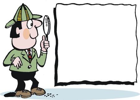 constat: caricature de d�tective avec loupe