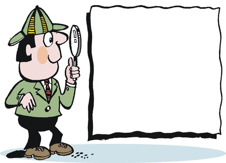 finding: cartoon of detective with magnifying glass Illustration