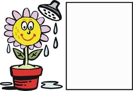 cartoon of happy flower receiving water Stock Vector - 10863972