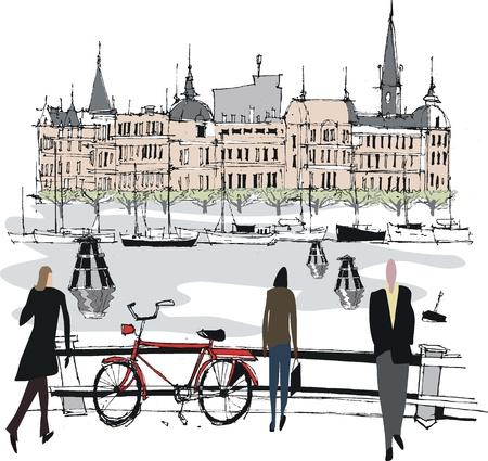 stockholm: illustration of Stockholm harbor, Sweden Illustration