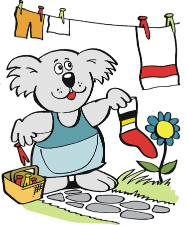 hanging out: cartoon of koala bear hanging out laundry