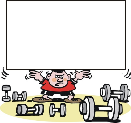 cartoon of weightlifter lifting weight Vector