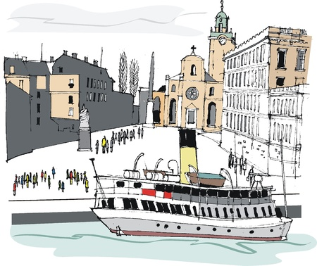 illustration of Stockholm, Sweden Vector