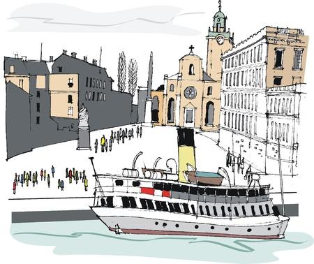 historic building: illustration of Stockholm, Sweden