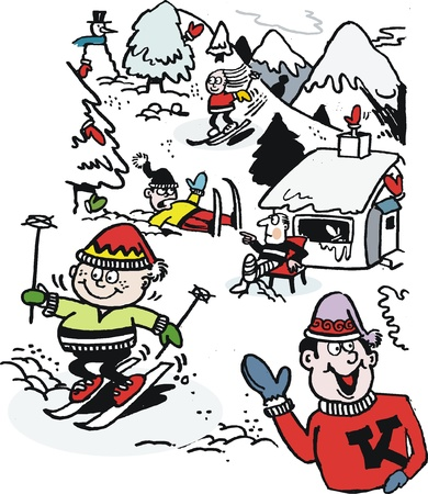 cartoon of skiers having fun in snow