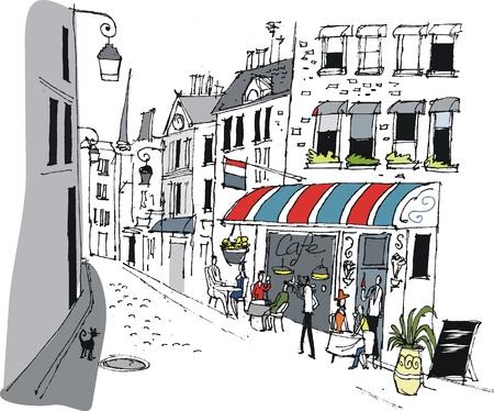уличный фонарь: Векторные иллюстрации из кафе в Париже, Франция.