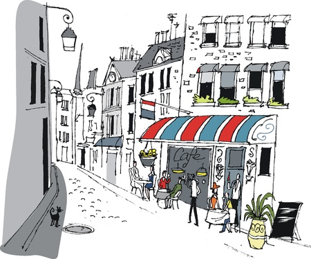 europe cities: Vector illustration of cafe in Paris, France.