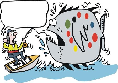 낚시꾼: 낚시꾼을 끄는 큰 물고기의 만화