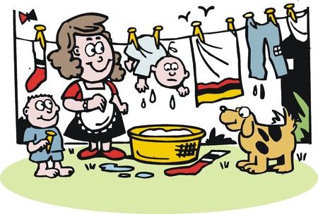 hanging woman: cartone animato di donna appendere fuori di lavaggio