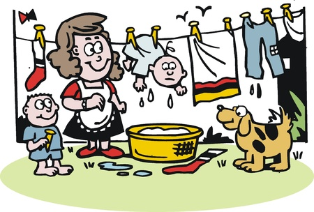 hanging out: cartoon of woman hanging out washing