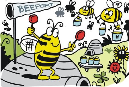 cartoon of bees landing at hive. Vector