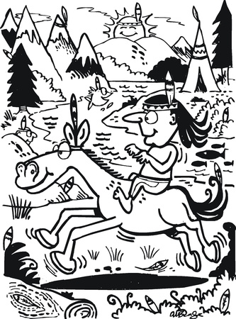 wigwam: cartoon of Indian brave on horse