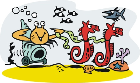 cartoon of seahorses towing crab with shell cart Vector