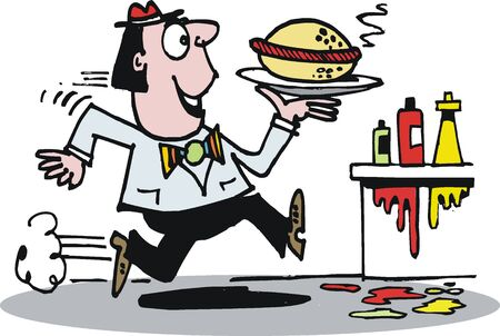 cartoon of man running with hot dog Stock Vector - 10938093
