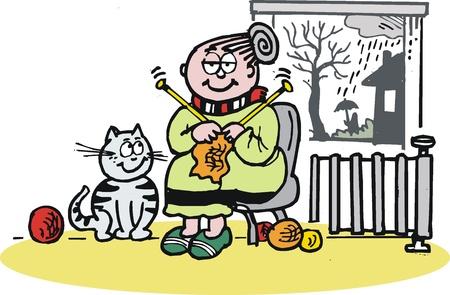 gato caricatura: de dibujos animados de la abuelita tejiendo en invierno Vectores