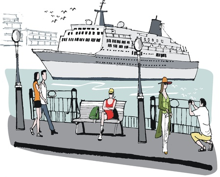 port:  illustration of cruise liner in port.