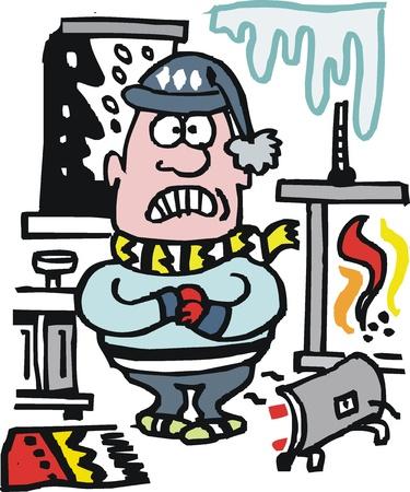 cartoon of man shivering in winter