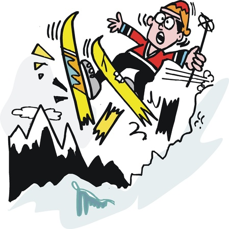 mountain skier: cartoon of man breaking skis on mountain Illustration
