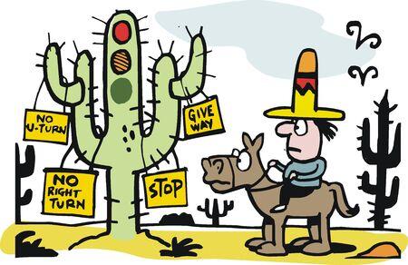Cowboy on horse at desert traffic light cartoon Vector