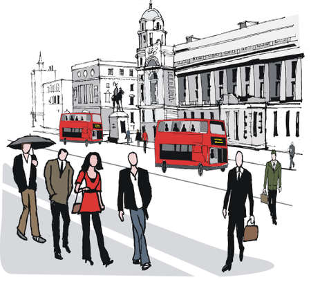 informal: illustration of Whitehall buildings and red buses