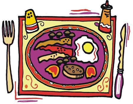 cartoon of breakfast meal food setting.  Vector