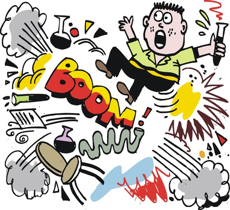 bang: cartoon of scientist with explosion. Illustration