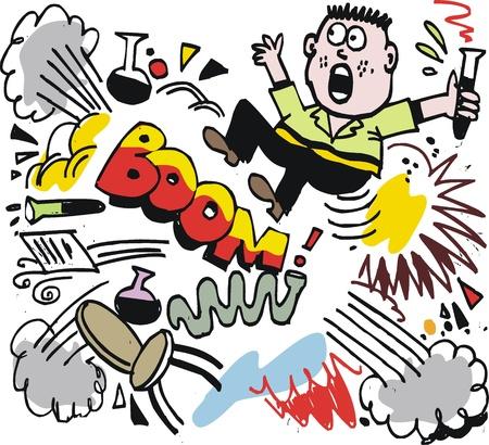 explosion: Karikatur des Wissenschaftlers mit Explosion.