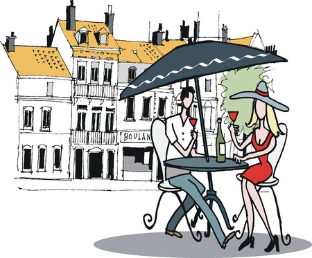 woman eat: drawing  of couple dining at French cafe