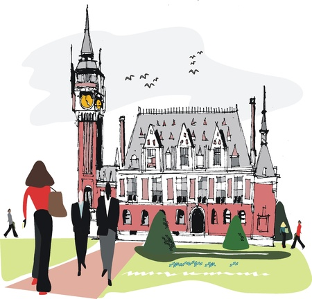 town hall: illustration of Calais Town Hall with pedestrians