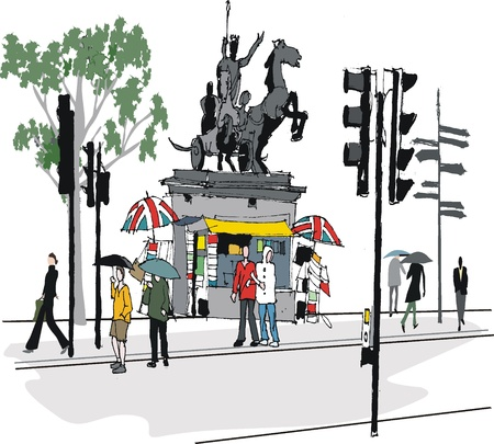 westminster: illustration of London statue and pedestrians Illustration