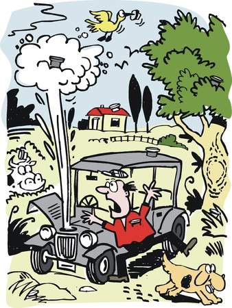 cartoon of old car with radiator overheating.