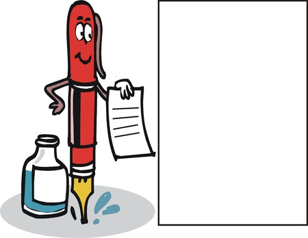 cartoon of fountain pen with ink and paper.  Vector