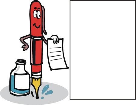 introducing: dibujos animados de la pluma con tinta y papel. Vectores