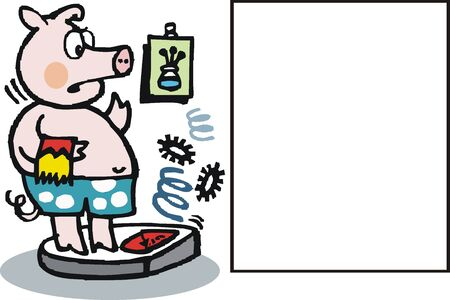 cartoon of overweight pig on scales. Stock Vector - 11020365