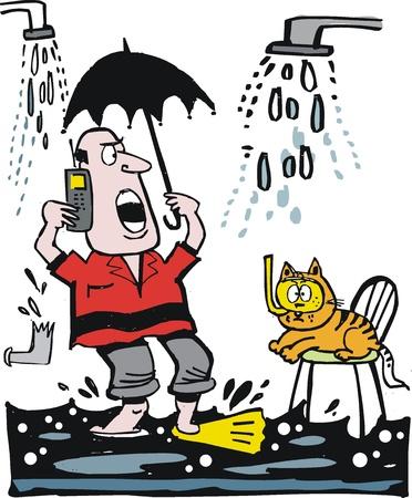 loodgieterswerk: cartoon van de mens te bellen voor hulp bij overstromingen.