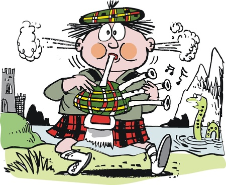 cartoon of Scotsman playing bagpipes. Illustration