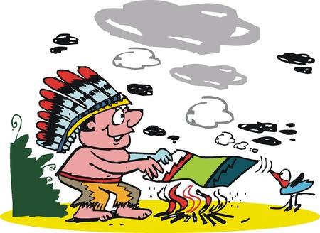 cartoon of Indian chief making smoke signals