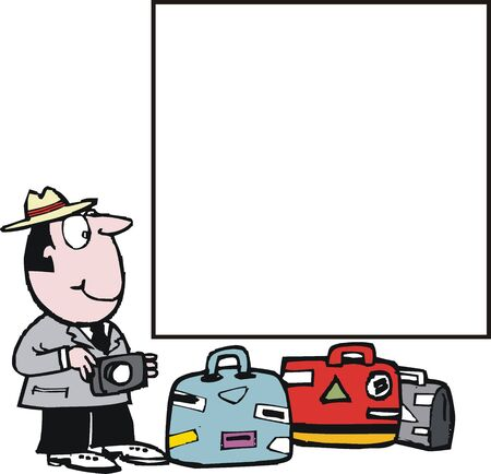 cartoon of happy tourist with luggage.  Vector